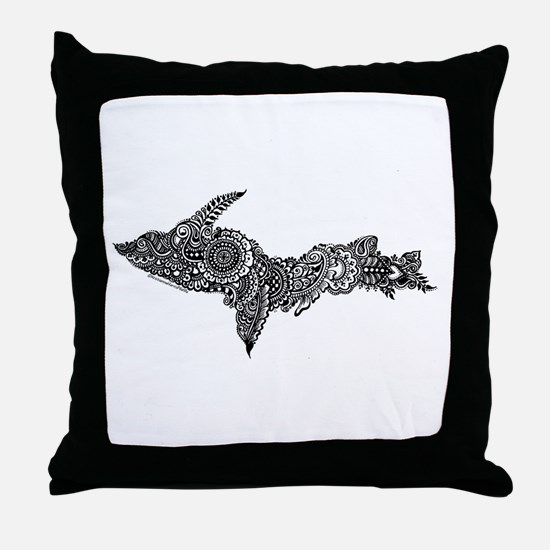 Mehndi Upper Peninsula UP by Kris Throw Pillow