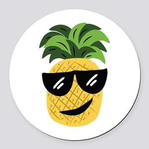 Funky Pineapple Round Car Magnet