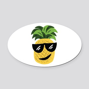 Funky Pineapple Oval Car Magnet