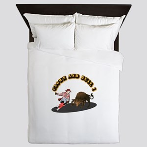 Clown and Bull 1-With-Text Queen Duvet