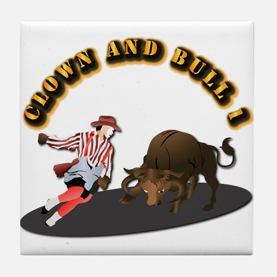 Clown and Bull 1-With-Text Tile Coaster