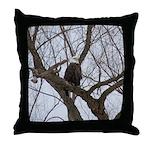 Winter Maple Island Bald Eagle Throw Pillow