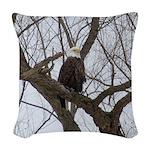 Winter Maple Island Bald Eagle Woven Throw Pillow