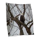 Winter Maple Island Bald Eagle Burlap Throw Pillow