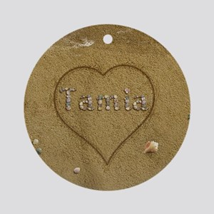 Tamia Beach Love Ornament (Round)
