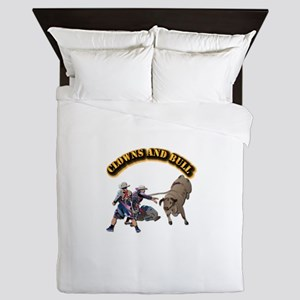Clowns and Bull-2 with Text Queen Duvet
