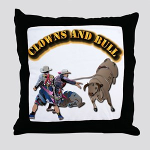 Clowns and Bull-2 with Text Throw Pillow