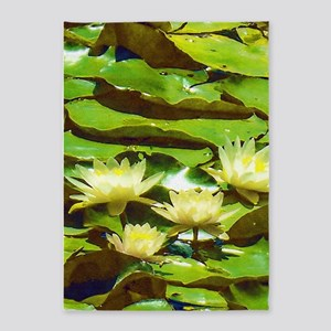 Yellow Water Lilies 5'x7'Area Rug