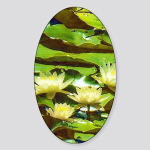 Yellow Water Lilies Sticker (Oval)