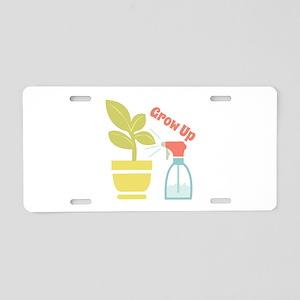 Grow Up Aluminum License Plate