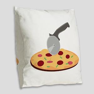 Pizza Burlap Throw Pillow