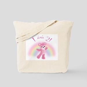 Rainbow Bear 2nd Birthday Girl Tote Bag