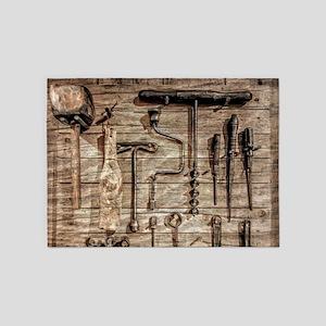 Vintage Farm Tools 5'x7'Area Rug