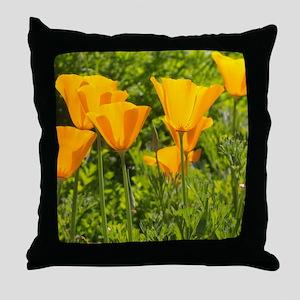 California Poppy Choir Throw Pillow