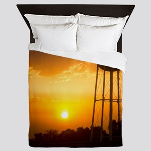 Water Tower Sunset Queen Duvet