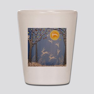 Dance of the moon hares Shot Glass