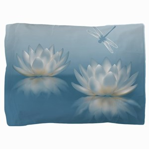 Blue Lotus And Dragonfly Pillow Sham