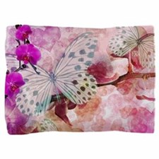 Orchids And Butterflies Pillow Sham