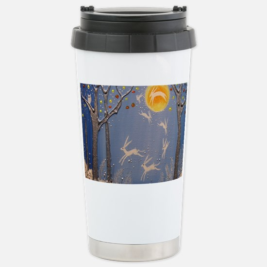 Dance of the moon hares Stainless Steel Travel Mug