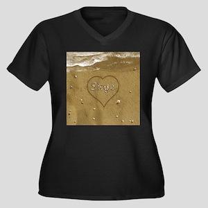 Skye Beach L Women's Plus Size V-Neck Dark T-Shirt