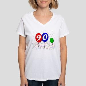 90th Birthday Women's V-Neck T-Shirt
