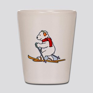 Polar Bear Skiing Shot Glass