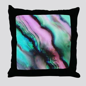 Pink & Green Seashell Colors Throw Pillow