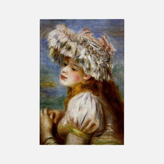 Renoir - Girl in a Lace Hat Rectangle Magnet
