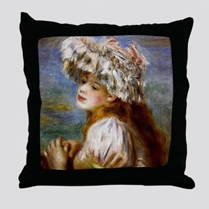 Renoir - Girl in a Lace Hat Throw Pillow