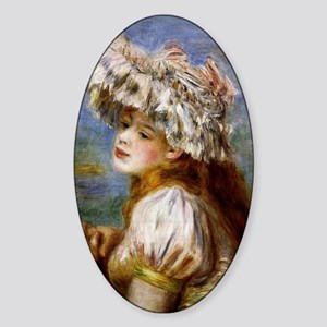 Renoir - Girl in a Lace Hat Sticker (Oval)