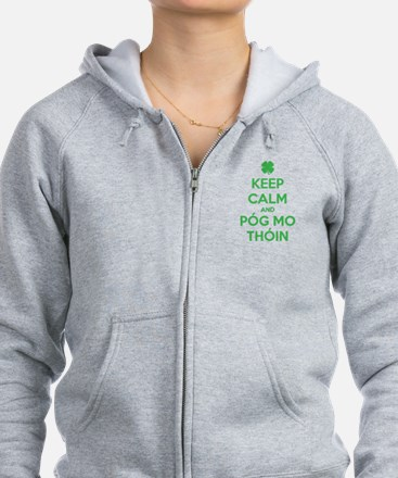 Keep Calm and Póg Mo Thóin Zip Hoodie