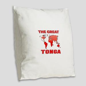 The Great Tonga Burlap Throw Pillow