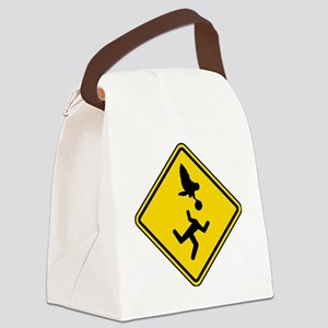 Warning: Owl Attack - May Lose He Canvas Lunch Bag