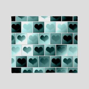Monochrome hearts Throw Blanket