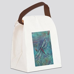 Turquoise Dragonfly Canvas Lunch Bag