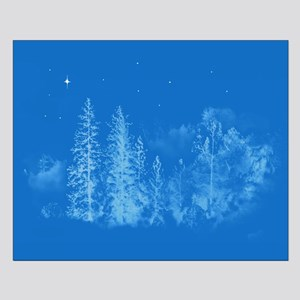 Blue Moonlight Trees with a Single St Small Poster