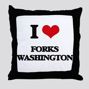 I love Forks Washington Throw Pillow