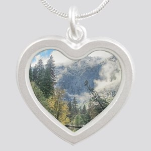 Mountain and Peaceful River Silver Heart Necklace