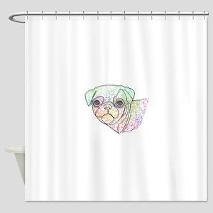 Wire Pug Shower Curtain