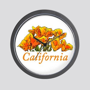 Stylized California Poppies with Text Wall Clock