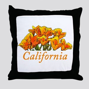 Stylized California Poppies with Text Throw Pillow