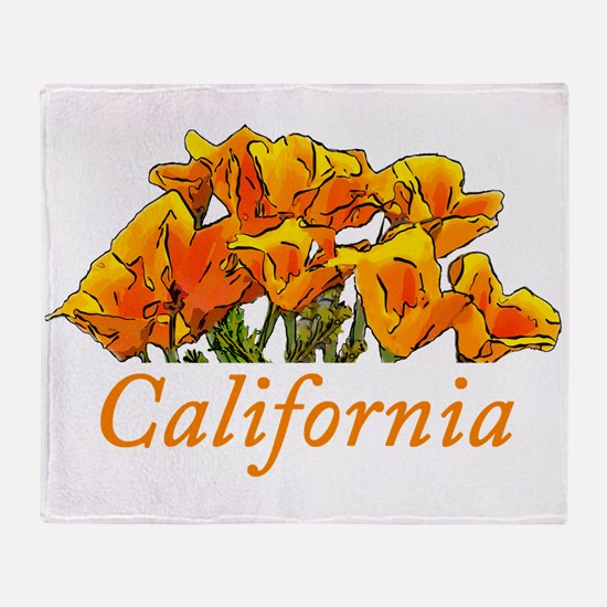 Stylized California Poppies with Tex Throw Blanket