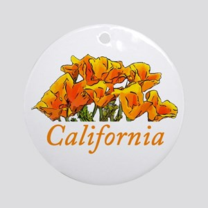Stylized California Poppies with Ornament (Round)