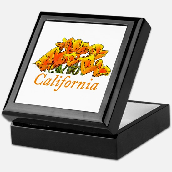 Stylized California Poppies with Text Keepsake Box