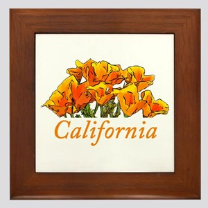 Stylized California Poppies with Text Framed Tile