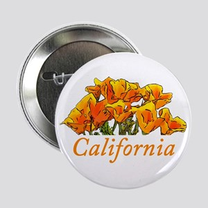 "Stylized California Poppies with Text 2.25"" Button"
