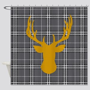 Plaid Deer Head Shower Curtain