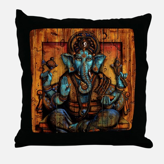 Blue Ganesha Throw Pillow