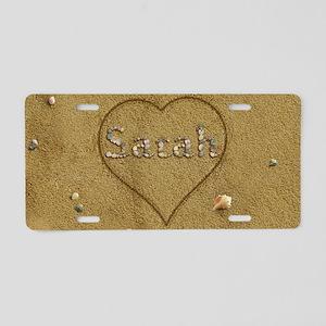 Sarah Beach Love Aluminum License Plate