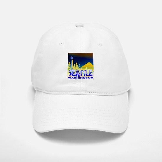 Seattle WA Golden Skyline Baseball Baseball Cap